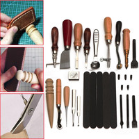 17Pcs DIY Leather Craft Tools Punch Stitching Carving Working Sewing Saddle DIY Carve Sewing Leather Cutter Tool Kit