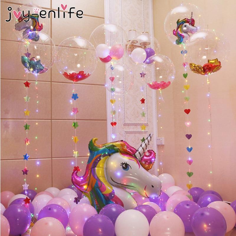 JOY ENLIFE Unicorn Party DIY PVC Bobo Balloon With 3M Led