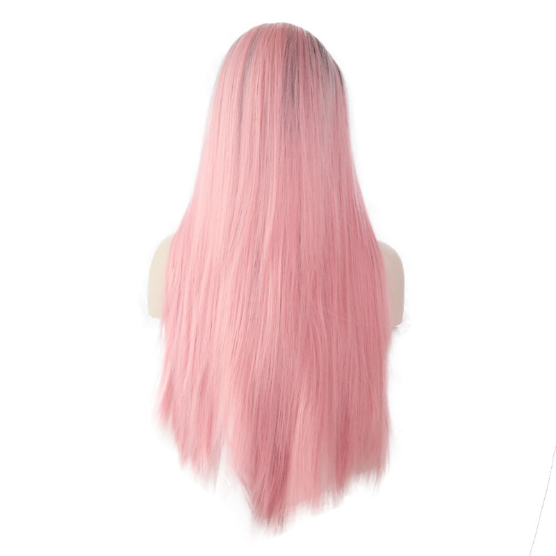 JOY&BEAUTY Hand Tied Black Roots To Pink Ombre High Temperature Fiber Hair Long Straight Glueless Synthetic Lace Front Wig