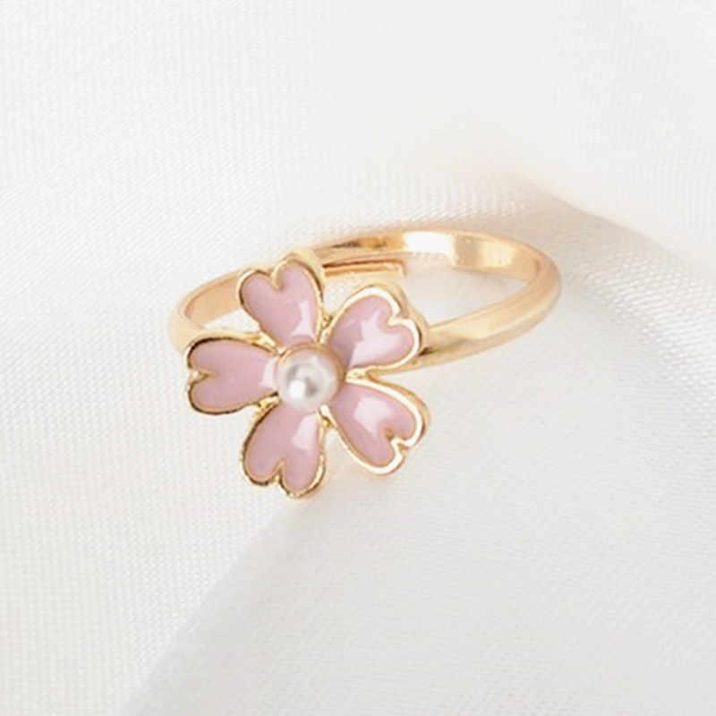 מכירה לוהטת דובדבן פריחת אצבע טבעת עבור נשים אירוסין תכשיטים חיקוי פרל ורוד סגול פרח טבעות