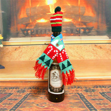 Christmas Decorations For Home Santa Claus Wine Bottle Cover Clothes Set Hat Cap Scarf Table Decor 2019 Navidad New Year Gifts