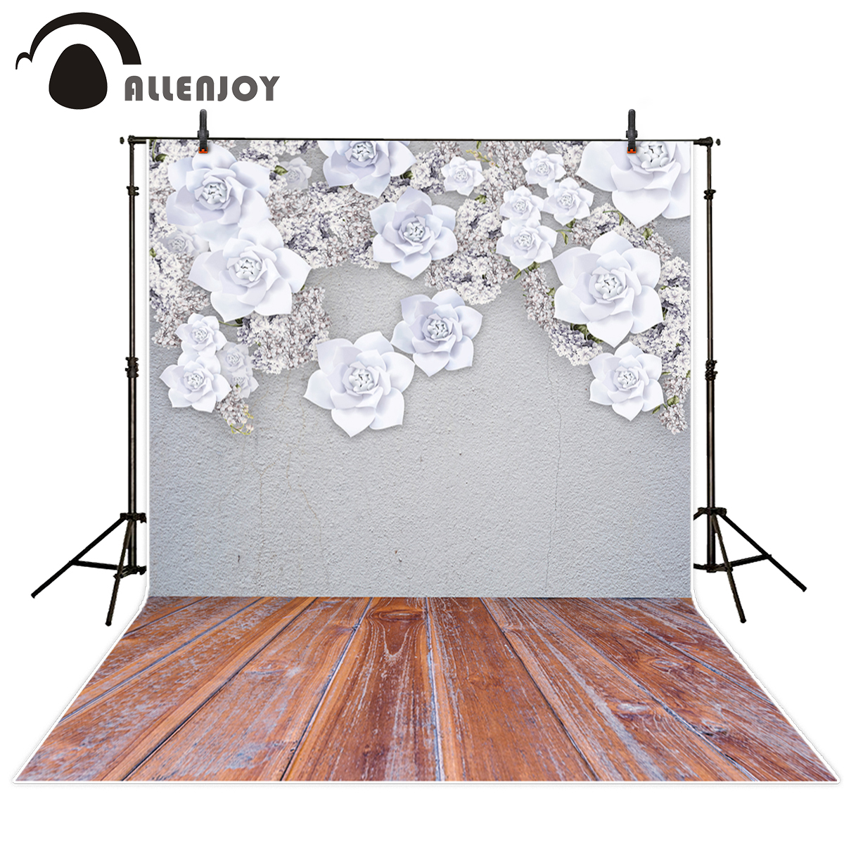 Allenjoy photography background white flower grey wall wood floor wedding theme backdrop professional photo background studio 10ft 20ft romantic wedding backdrop f 894 fabric background idea wood floor digital photography backdrop for picture taking