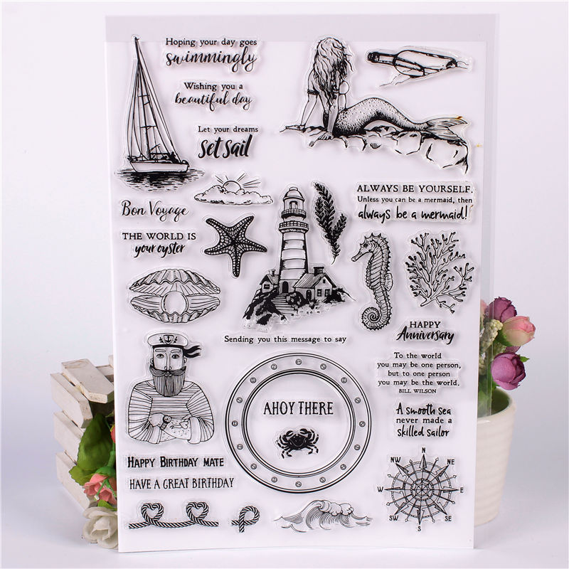 DLKSDIY Sea Animal plant Flowers Transparent Clear Stamp DIY Silicone Seals Scrapbooking / Card Making/Photo Album Decoration