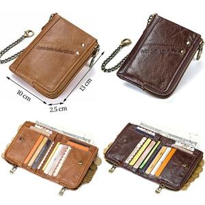 Image 4 - CONTACTS جلد أصلي للرجال محفظة بشريحة RFID مع مكافحة سرقة سلسلة حاملي بطاقة الذكور محفظة صغيرة مزدوجة سستة محفظة نسائية للعملات المعدنية خمر