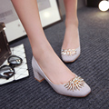 Metal Decoration Square heel women shoes pumps Office & Career Slip-On Spring/Autumn pumps Sweet Square Toe Office Lady Pumps