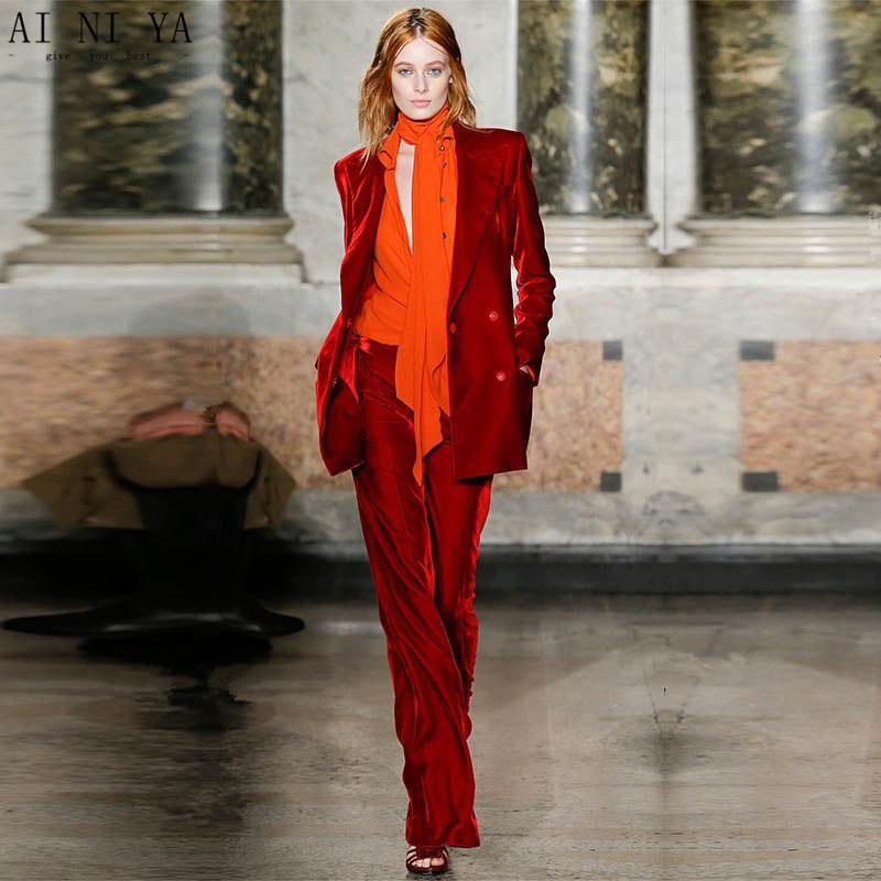 Jacket Pants Wine Red Women Elegant Pant Suits Velvet Formal Office Uniform Design Professional Business Work 2 Piece Suits