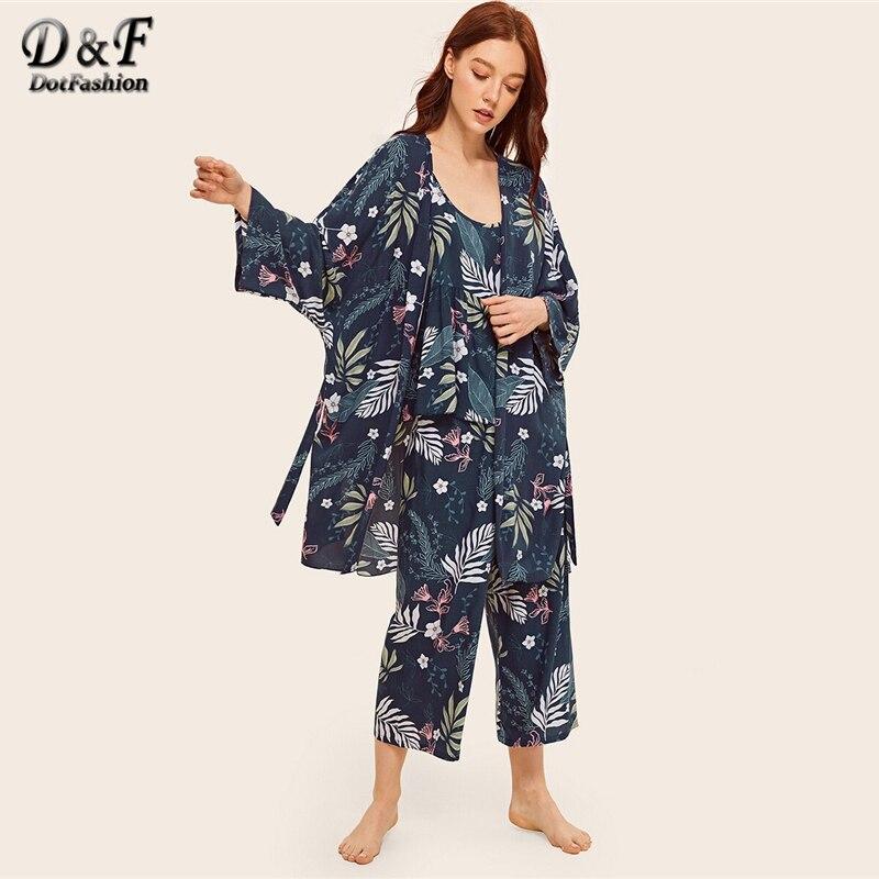 Dotfashion Floral Print Cami   Pajama     Set   With Robe 2019 Summer   Pajamas   For Women Ladies Casual Spring Long Sleeve Loungewear