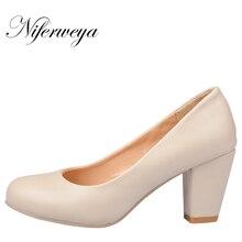 האביב חדש עור PU מוצק נעלי נשים עבודת ol עקבים גבוהים אישית חצרות קטנות 31 32 33 בתוספת גודל 44 45 46 47 HH-222-1