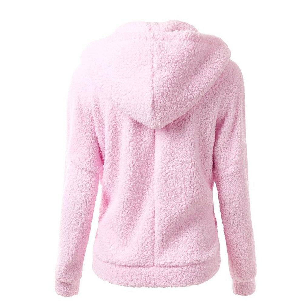 HTB1XIJyX. rK1Rjy0Fcq6zEvVXa4 Women Solid Color Coat Thicken Soft Fleece Winter Autumn Warm Jacket Hooded Zipper Overcoat Female Fashion Casual Outwear Coat