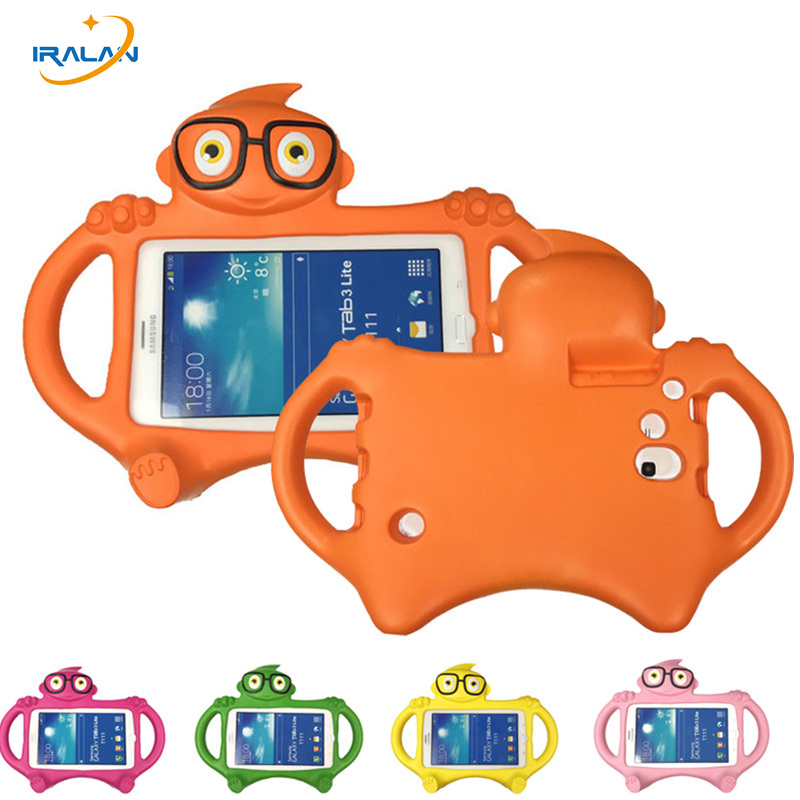 quality design 14aad e04dc New Glasses Kids Case For Samsung Galaxy Tab 3 Lite T110 T111/Tab 4 7.0  T230 T231 Cartoon EVA Desk Stand Holder Back Cover+Pen