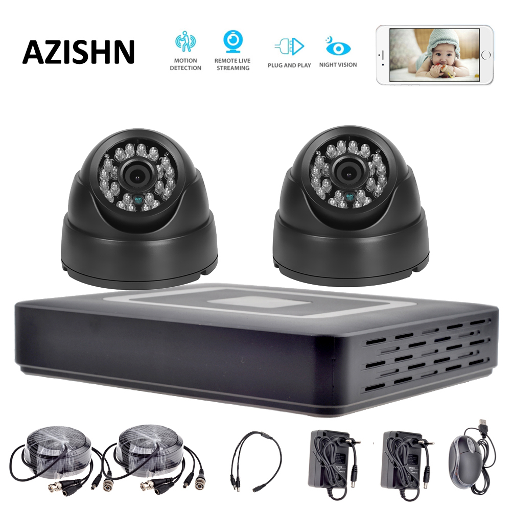 цена на HD 4CH CCTV System 1080P HDMI AHD DVR 2PCS 720P/1080P AHD Cameras CCTV DOME camera indoor Surveillance security camera system