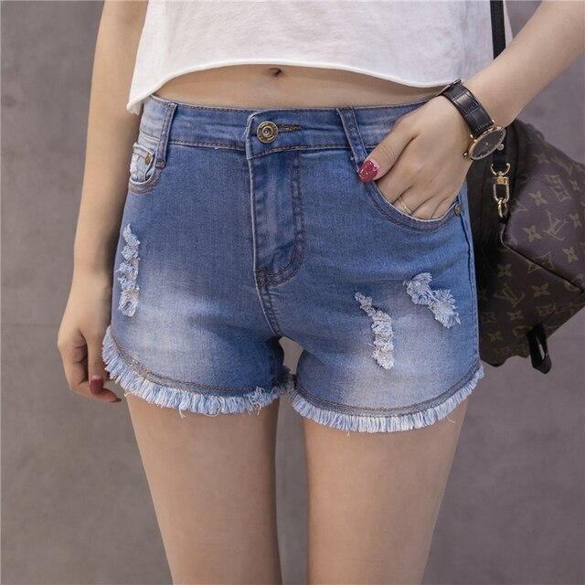 2018 Summer Womens Denim Jeans Shorts Girls High High Waist Tight Denim Shorts Plus Size Blue