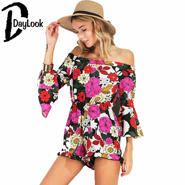 39bf8df9c6 DayLook Tribal Exotic Women High Waist Playsuits Summer Off The Shoulder  Multi-Floral Print Flare Sleeve Chiffon Chic Romper