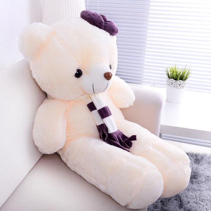 Joli ours blanc en peluche grand 110 cm ours doux oreiller, cadeau d'anniversaire de noël F001