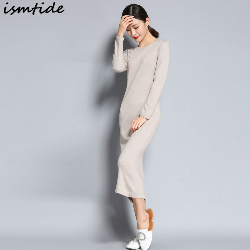 Ismtide Women Winter Dress 2017 High Quality Cashmere Dress Knitted Sheath Soft Long Maxi Dresses Business