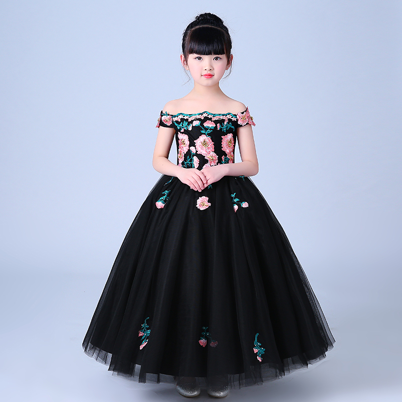 Luxury Embroidery Lace Flowers Shouldless Dress Children Girls Elegant Birthday Evening Party Long Dress Kids Host Dress E115 lace high low swing evening party dress