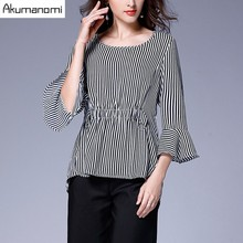Striped Blouse Tops Flare Three Quarter Sleeve Elastic Waist Shirt Spring Autumn Women Clothes Plus Size 5XL 4XL 3XL 2XL XL L