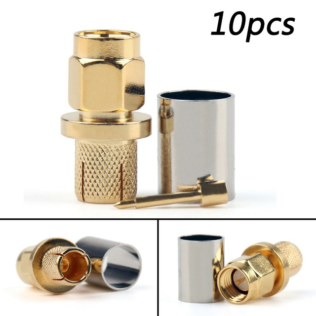 Areyourshop SMA Male Plug Crimp RG5 RG6 5D-FB LMR300 Cable Straight 10Pcs Connector  Gold Plating 50ohm Plug Jack