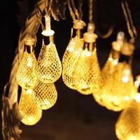 4M Led Fairy String Garland 20pcs Metal Drip Christmas String Lights Outdoor 8 Lighted Mode 220V