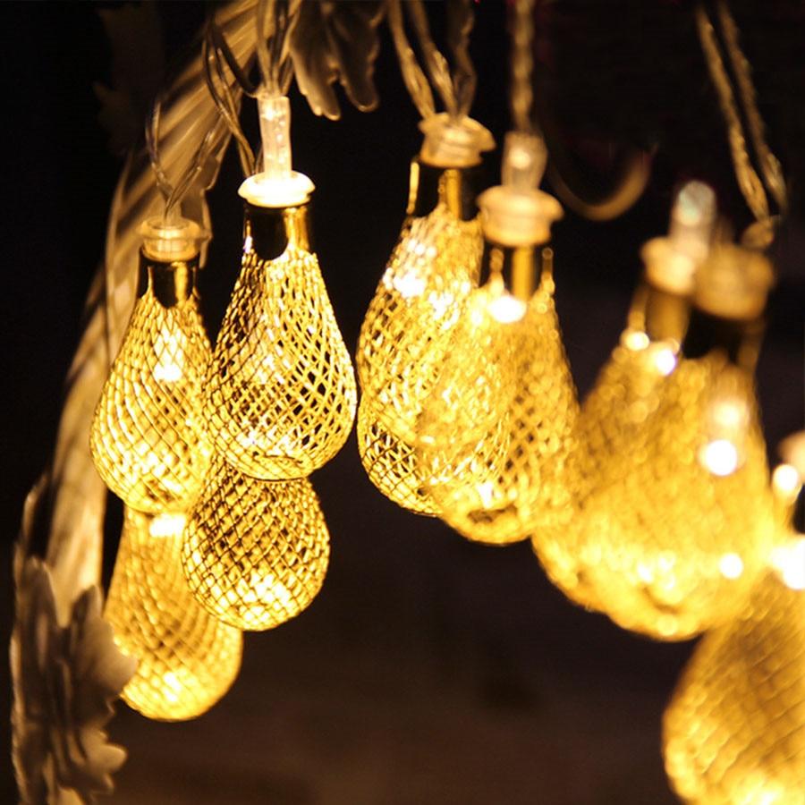 Zinuo 4 м светодиодная гирлянда 20 штук капля металла фея свет шнура Рождество украшения 8 режимов 220 В патио Свадебная вечеринка свет