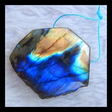 Natural Stone Geometric Labradorite Beautiful Pendant,34*31*9mm,14.4g, fine jewelry blue light shinning labradorite necklace