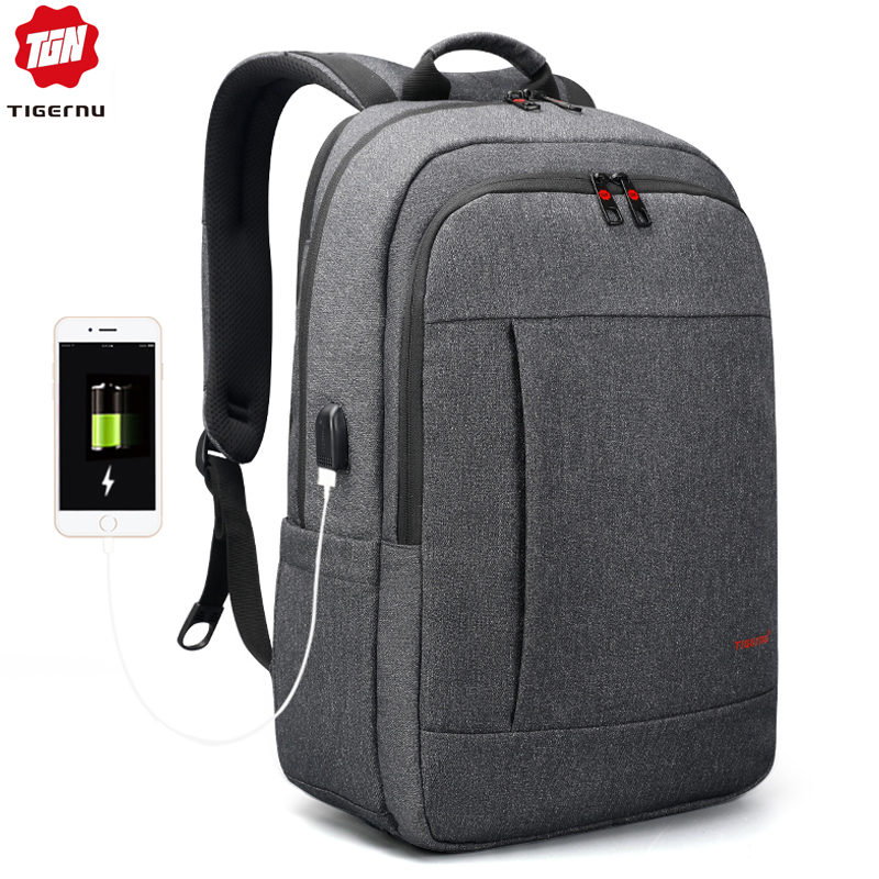 Tigernu Anti theft USB charging 15 6inch Men Laptop Backpack for Women Fashion Travel Mochila Male