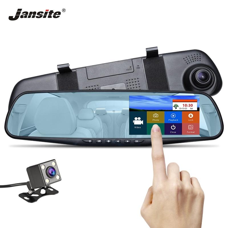 Jansite DVR de voiture Double Lentille écran tactile FHD camera de voiture enregistreur vidéo rétroviseur Avec vue Arrière DVR Dashcam Auto Registrator