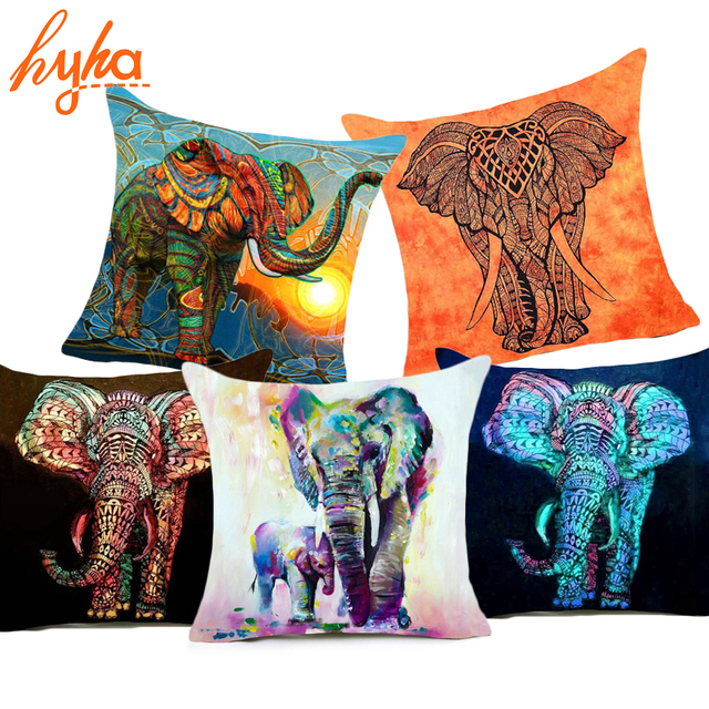 Hyha Bohemia Elephant Polyester Cushion Cover Indian Style 40x40cm Awesome Indian Style Decorative Pillows