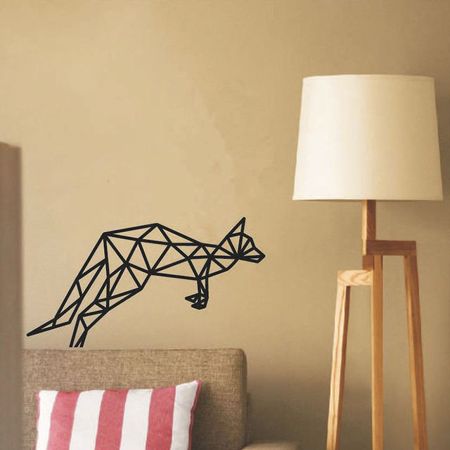 Geometric Cat Vinyl Wall Sticker Removable DIY Wall Stickers For ...