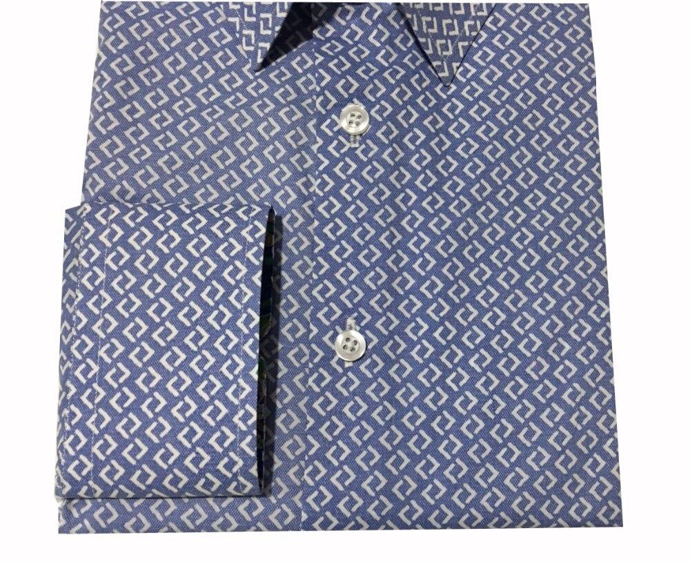 Custom Made Men Print Blue Pattern Shirt Cotton Casual Shirt
