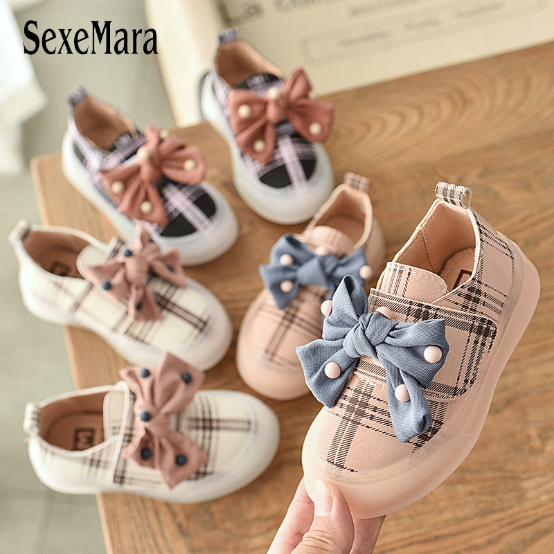 Elegant Evening Kids Shoes For Girl Leather Stripes Shoes Kids Girls Bowknot Toddler Princess Children Sneaker With Pearl C07172