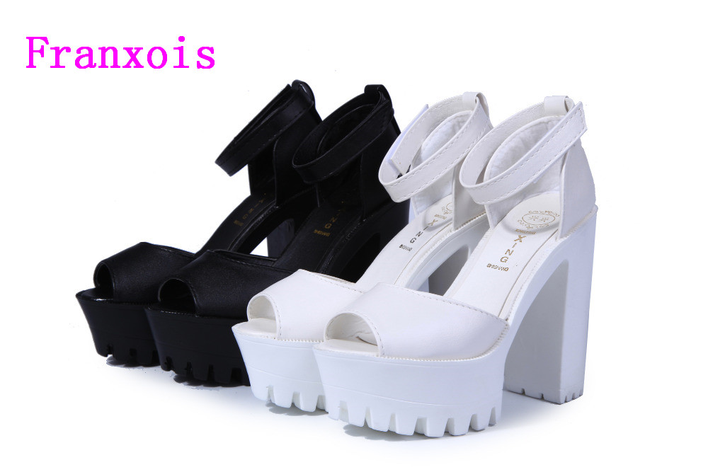 Franxois 2016 New style high heels women sandals open toe sandals female thick heel platform summer shoes big size 9 2017 new summer pep toe woman sandals platform thick heel summer women shoes hook