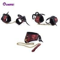 Oomph! 3 יחידות BDSM אזיקי צווארון סט Footcuffs פטיש שעבוד איפוק משחק למבוגרים צעצוע מין לזוגות מסיבת חתונת קישוט