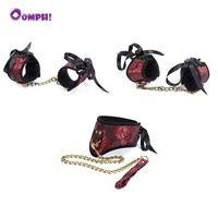 Oomph! 3PCS BDSM Set Collar Handcuffs Footcuffs Adult Game Fetish Bondage Restraint Wedding Party Decoration Sex Toy for Couples