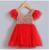 Moda roupas festa de aniversário do bebê menina lantejoulas ruffle manga azul vermelho branco vestido infantil
