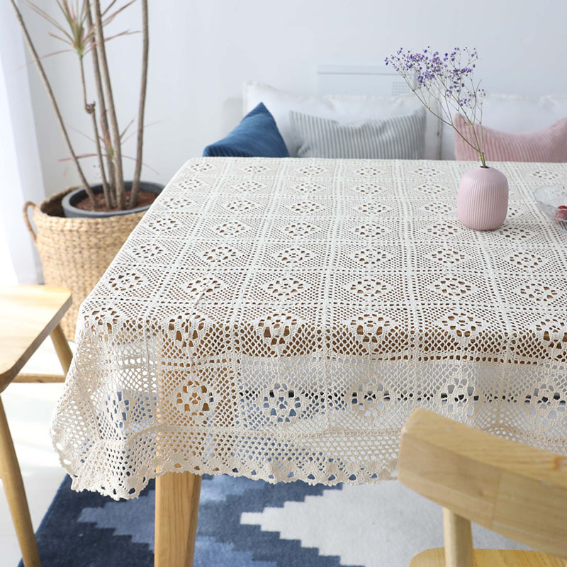 100% Cotton Knitted Lace Tablecloth Openwork Chic Vintage Crocheted Furniture Covering Cloth Handmade Washable Table Topper