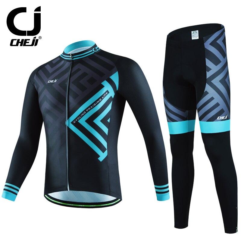 Cheji Велоспорт-Джерси мужчины с длинным рукавом комплект 2017 велосипед MTB велосипед одежда для мужчины куртка дорожный велосипед Джерси одежда