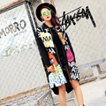 BringBring 2016 Autumn Fashion Cartoon Printed Letters Black Trench Women With Rivet and Tassel Coat 1703