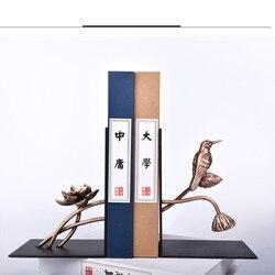 1 paar Chinesischen Stil Blume Vogel patern Eisen Buchstütze Regal Buchstütze Halter Büro Schule Lieferungen Schreibwaren Geschenk Hause dekoration