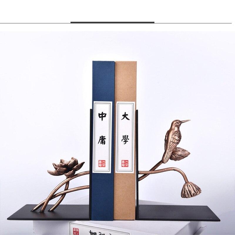 1 Para Chinesischen Stil Blume Vogel Patern Eisen Buchstütze Regal Buchstütze Halter Büro Schule Lieferungen Schreibwaren Geschenk Hause Dekoration
