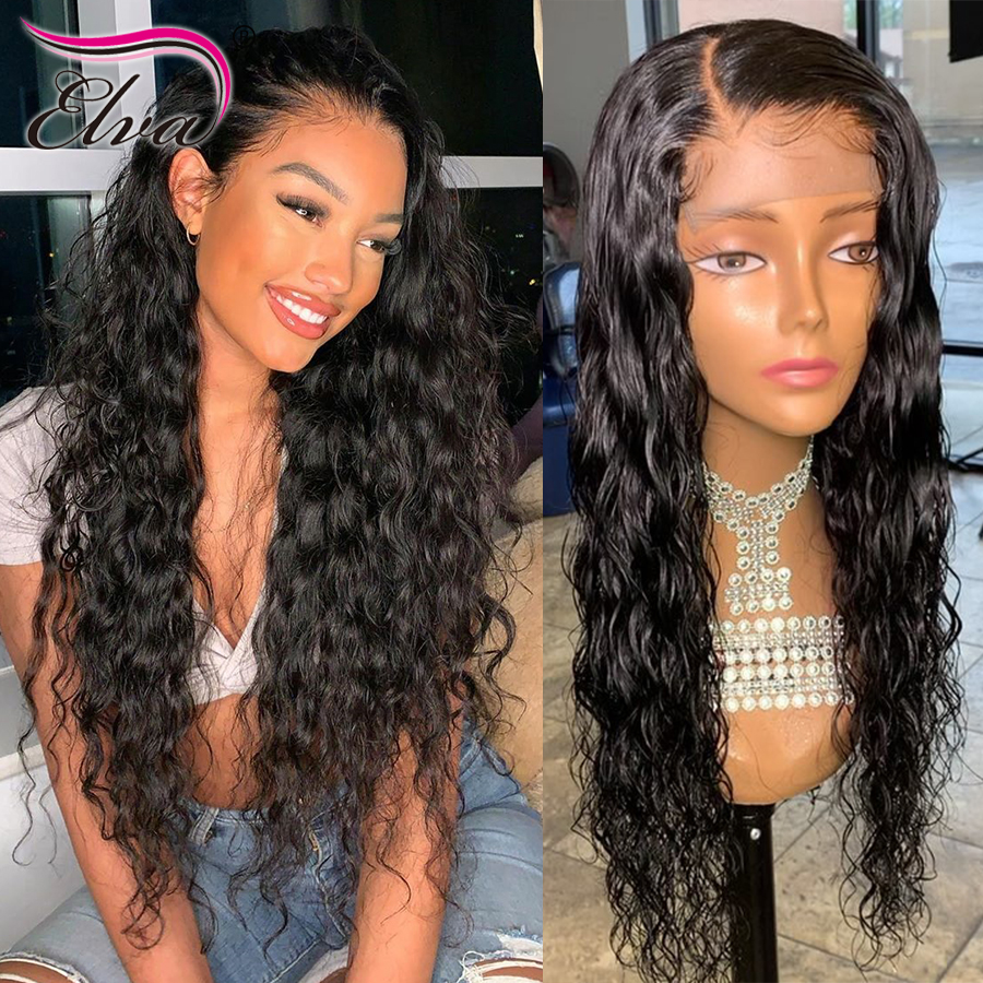 Natural Wave Lace Front Wig Remy Hair Brazilian 360 Lace Frontal Human Hair Wigs Pre Plucked With Baby Hair 4.5inches Elva Hair