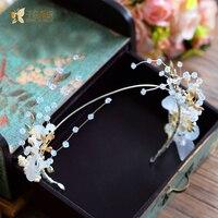 Fashion Flower Crown Rhinestone Pearl Hairband Tiara Crystal Floral Hairwear Sweet Bride Headpiece Wedding Accessories Nanxin