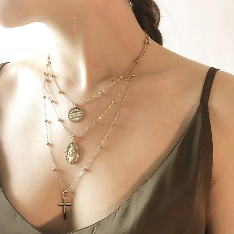 22 стиля, богемное ожерелье для женщин, Ретро стиль, золотая, серебряная цепочка, длинная луна, массивное ожерелье, подвеска, богемное ювелирное изделие, подарок девушке