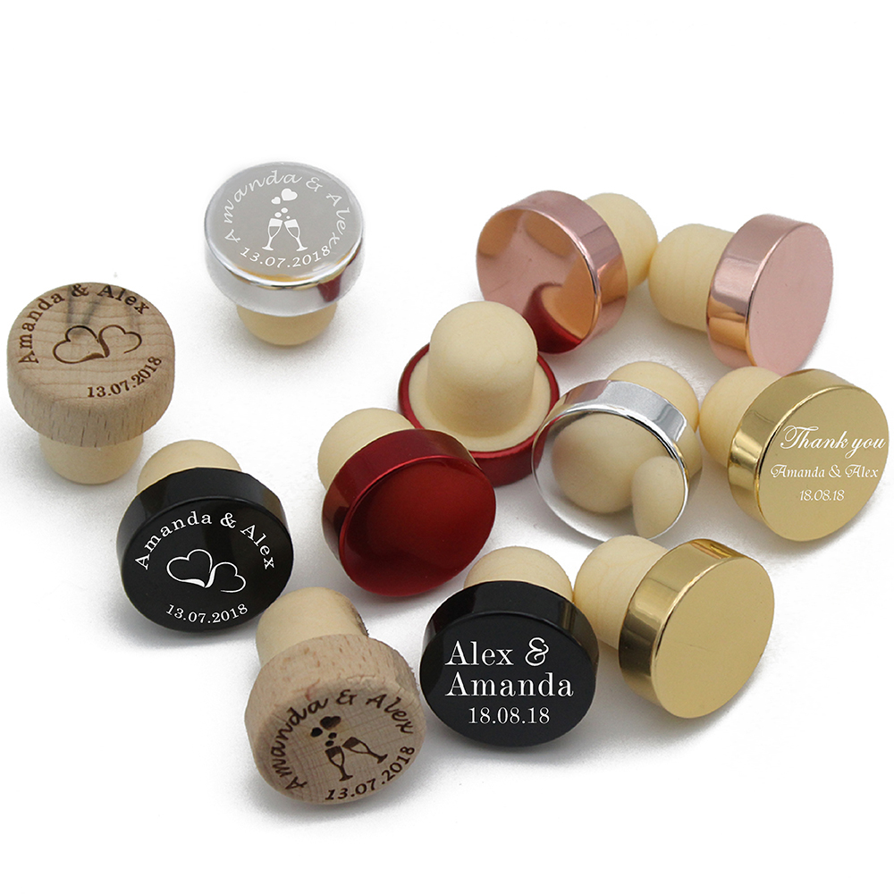 50pcs Personalized Engraved Wine Stopper Baby Shower Party Decoration Christmas Gift Wedding Favors Customize Any Design