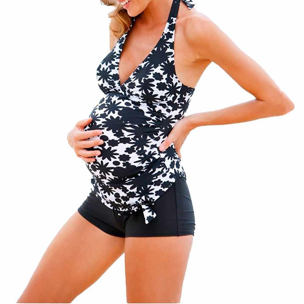 3ffa699a1fe12 Women's Swimming Suit Plus Size Maternity Tankinis Women Stripe Print  Bikinis Swimsuit Beachwear Pregnant Swimwear Suit