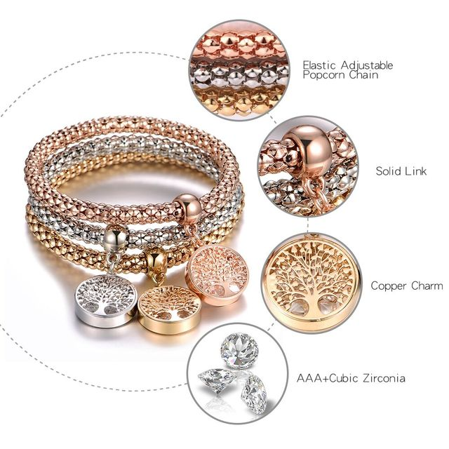 3Pcs Tree of Life Bracelet Popcorn Owl Heart Anchor Musical Note Charm Bracelets For Women Pulseria Feminina Boy & Girl Jewelry 1