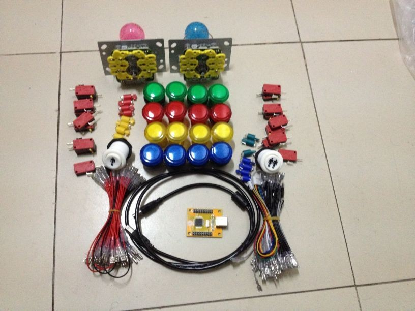 цена на Free Delivery DIY Arcade Game Suit of LED joystick Chip joystick USB Chip LED joystick PC PS 3 2 in 1 USB Driver 2 player