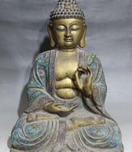17 «Тибет Перегородчатой Эмали Бронзовый Золотой Свинка Шакьямуни Будда шакьямуни Статуя
