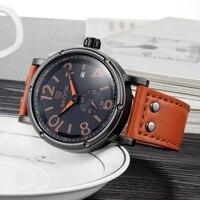 SKONE Merk heren Militaire Horloges Grote Wijzerplaat Big Digit Persoonlijkheid Tweedehands Leather Horloge Mannelijke Kalender Quartz Horloge