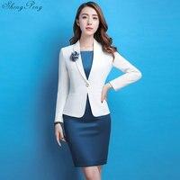 Ladies blazers skirt suit woman office uniform designs women elegant skirt suits woman business suit female blaiser CC574